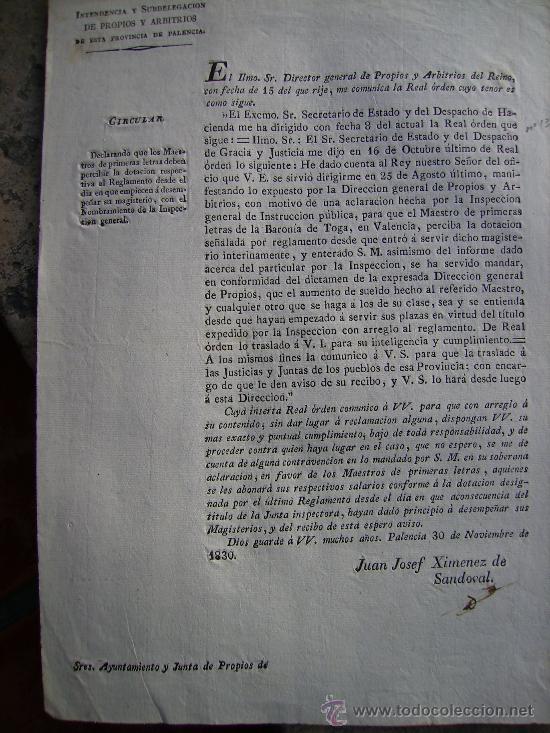 EN VALENCIA AUMENTO DE SUELDO DE UN MAESTRO DE LA BARONIA DE TOGA 1830 N131 (Coleccionismo - Documentos - Otros documentos)