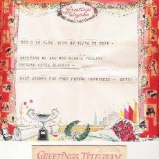 Documentos antiguos: GREETINGS TELEGRAM - GLASGOW - CON SU SOBRE ORIGINAL. Lote 18316665