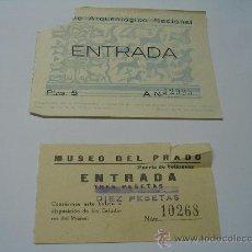 Documentos antiguos: ENTRADA MUSEO PRADO Y MUSEO ARQUELÓGICO NACIONAL CON DECORACION VASO DE AZAILA (TERUEL) C 1960. Lote 26134827