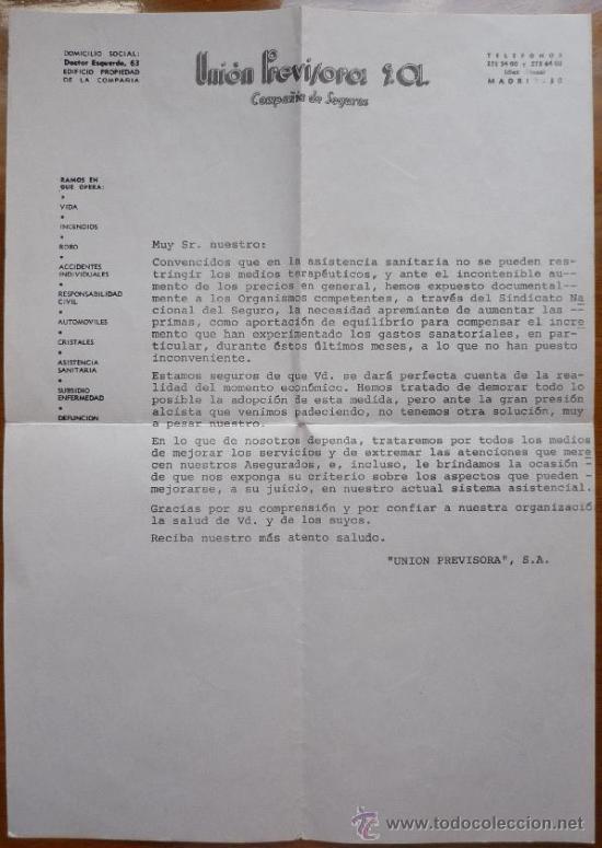 CARTA ANTIGUA UNION PREVISORA SA COMPAÑIA DE SEGUROS (Coleccionismo - Documentos - Otros documentos)