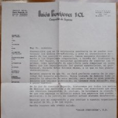 Documentos antiguos: CARTA ANTIGUA UNION PREVISORA SA COMPAÑIA DE SEGUROS. Lote 18496499