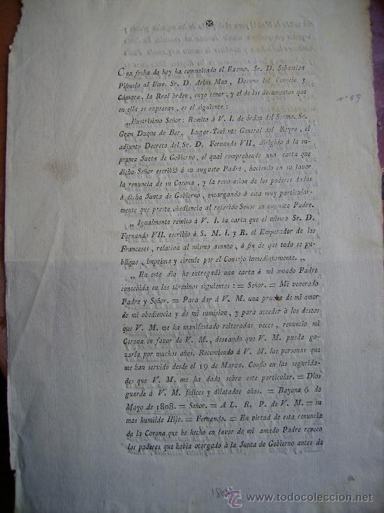 DE LA RECOMENDACION DE LAS PERSONAS QUE LE SIRVIERON DURANTE AÑOS POR LA RENUNCIA DE LA CORONA 1808 (Coleccionismo - Documentos - Otros documentos)