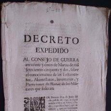 Documentos antiguos: AÑO 1752 DECRETO TESTAMENTOS DE LOS MILITARES QUE FALLECEN. Lote 24376605