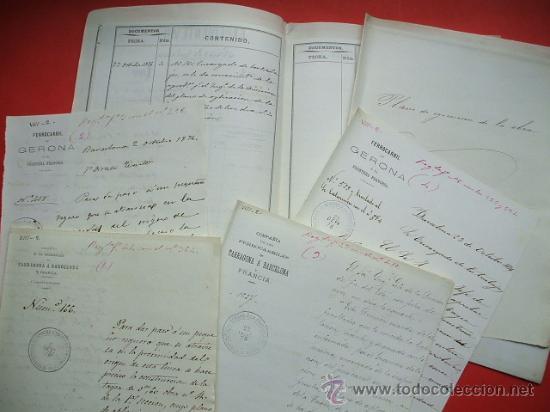 FERROCARRIL - 1876 - LOTE DE DOCUMENTOS Y PLANO - LINEA DE GERONA A LA FRONTERA (Coleccionismo - Documentos - Otros documentos)