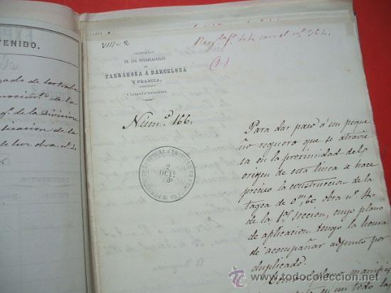 Documentos antiguos: FERROCARRIL - 1876 - Lote de documentos y plano - Linea de Gerona a la frontera - Foto 6 - 26852145