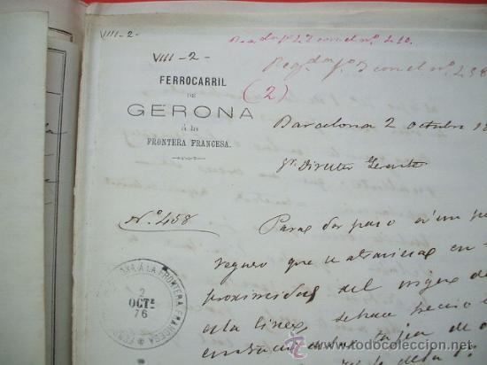Documentos antiguos: FERROCARRIL - 1876 - Lote de documentos y plano - Linea de Gerona a la frontera - Foto 7 - 26852145