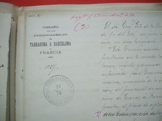 Documentos antiguos: FERROCARRIL - 1876 - Lote de documentos y plano - Linea de Gerona a la frontera - Foto 8 - 26852145