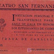Documentos antiguos: SEVILLA 18 FEBRERO 1925. ENTRADA BAILE DE GALA PARA CABALLEROS. Lote 27015520