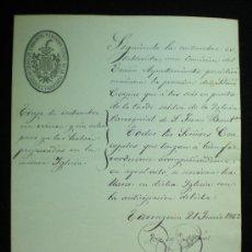 Documentos antiguos: TARRAGONA. AYUNTAMIENTO CONSTITUCIONAL. DOCUMENTO MANUSCRITO. CORPUS. 1862.. Lote 19299990