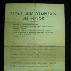 Documentos antiguos: DOCUMENTO. FRONT UNIC D'EMPLEATS DEL MAJOR. PROJECTE DE BASES DE TREBALL. AÑOS 30.. Lote 19321685