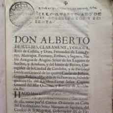 Documentos antiguos: ORDEN REMITIDA POR EL MARQUÉS DE ESQUILACHE DIRIGIDA A ALBERTO DE SUELBES, 1760.. Lote 19397426