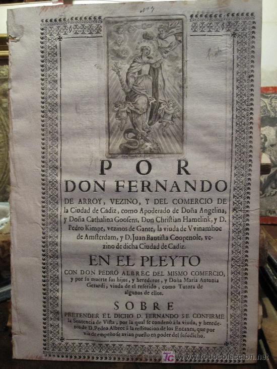 CÁDIZ: PLEYTO DE D. FERNANDO DE ARROY CON D. PEDRO ALBREC, COMERCIO, SIGLO XVIII. (Coleccionismo - Documentos - Otros documentos)