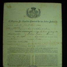 Documentos antiguos: DOCUMENTO. MENORCA. AUTORIZACIÓN DE TRASLADO. 1930.. Lote 19459078