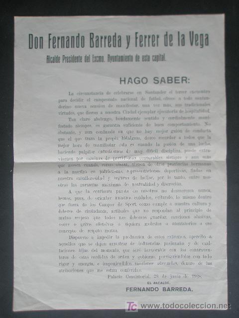 FUTBOL SOBRE LA CELEBRACION EN SANTANDER DEL TERCER CAMPEONATO NACIONAL DE FUTBOL 1928 (Coleccionismo - Documentos - Otros documentos)