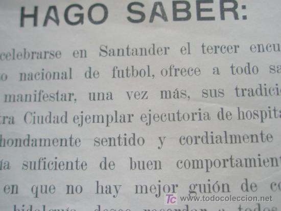 Documentos antiguos: FUTBOL SOBRE LA CELEBRACION EN SANTANDER DEL TERCER CAMPEONATO NACIONAL DE FUTBOL 1928 - Foto 2 - 24404105