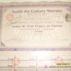 Documentos antiguos: ACCIÓN MALAGA - SOCIETE DES COULEURS MINERALES (OXIDOS ROJOS DE MALAGA). Lote 19931232