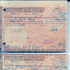 Documentos antiguos: CONTRIBUCIÓN INDUSTRIAL (3 RECIBOS) / HACIENDA PÚBLICA / BARCELONA. AÑO 1943. Lote 26287516