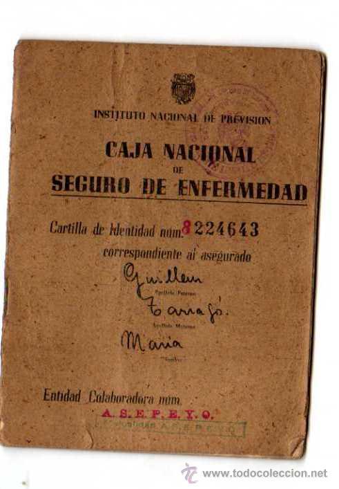 CARTILLA. CAJA NACIONAL SE SEGURO DE ENFERMEDAD.1944 (Coleccionismo - Documentos - Otros documentos)