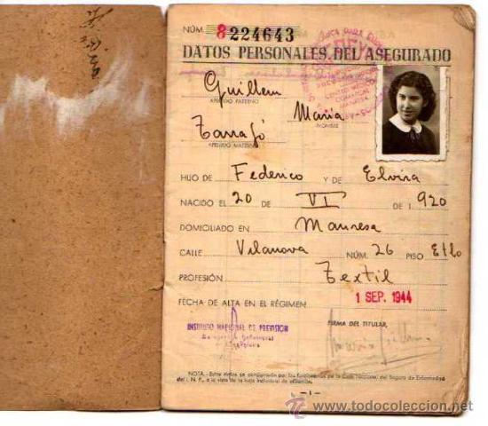 Documentos antiguos: Cartilla. Caja nacionaL se seguro de enfermedad.1944 - Foto 2 - 19979102