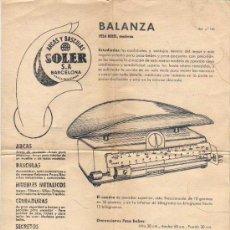 Documentos antigos: DOCUMENTO DE ARCAS Y BASCULAS SOLER - BALANZAS BARCELONA . Lote 20018628