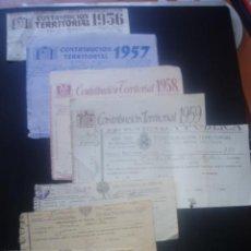 Documentos antiguos: LOTE.CONTRIBUCION TERRITORIAL DE LOS AÑOS ;1959-58-57-56-31-(22-23)-(23-24) Y1915.. Lote 26454198