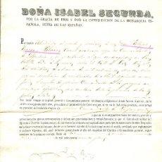 Documentos antiguos: MILITAR. REINA ISABEL II. ASCENSO A PRIMER COMANDANTE. GUERRA DE MARRUECOS. AÑO 1863.. Lote 26631437