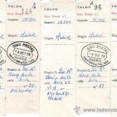 Documentos antiguos: LOTE CINCO GIROS POSTALES 1979 MADRID. Lote 27515679