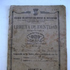 Documentos antiguos: LIBRETA DE IDENTIDAD, SEGURO DE MATERNIDAD Nº088957, VALENCIA 1933. Lote 20555470