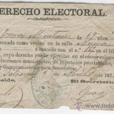 Documentos antiguos: CENSO. PAPELETA. DERECHO ELECTORAL.JOSE TORRAS MONTANER.BALSARENY. AÑO 1877.SELLOS. TIMBRES.. Lote 29376673