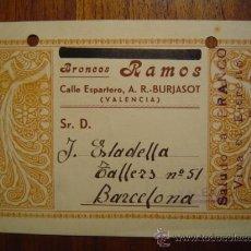Documentos antiguos: TARJETA COMERCIAL DE BRONCES RAMOS - BURJASSOT / BURJASOT ( VALENCIA ) . Lote 27321228