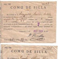 Documentos antiguos: COMÚ DE SILLA RECIBO RIEGO AÑO 1928 SILLA -VALENCIA-. Lote 26514296