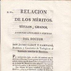 Documentos antiguos: RELACIÓN DE MÉRITOS DE JAIME CABOT Y CAMPANÉ, SEMINARIO DE BARCELONA 1826. MATARÓ. Lote 21266524