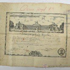 Documentos antiguos: CEMENTERIO GENERAL DE BARCELONA, 1857. 2 HOJAS EN GRABADO DE TITULO DE NINCHO Y SELLOS DE LOS PAGOS. Lote 21411147