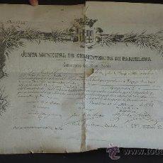 Documentos antiguos: DOCUMENTO DE 1892. JUNTA MUNICIPAL DE CEMENTERIOS DE BARCELONA. COMPRA DE TUMBA DE S.XIX.. Lote 26744230