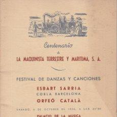 Documentos antiguos: PROGRAMA CENTENARIO LA MAQUINISTA TERRESTRE Y MARITIMA SA 1955. Lote 21513512