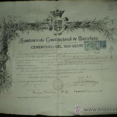 Documentos antiguos: L7-5 TITULO DE DERECHO FUNERARIO DEL CEMENTERIO DEL SUDOESTE 11 - 11 1902 (55X38 CM) . Lote 21539879