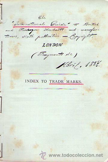 INTERNATIONAL GUIDE TRADE MARKS. INDEX. LONDON 1887 (Coleccionismo - Documentos - Otros documentos)