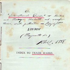 Documentos antiguos: INTERNATIONAL GUIDE TRADE MARKS. INDEX. LONDON 1887. Lote 27472067