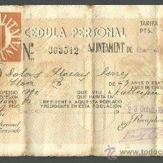 Documentos antiguos: C8-775 GENERALITAT DE CATALUNYA CEDULA PERSONA DE 1935. Lote 21714736