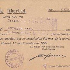 Documentos antiguos: RECIBO DE SUSCRIPCIÓN AL PERIÓDICO. Lote 21721683