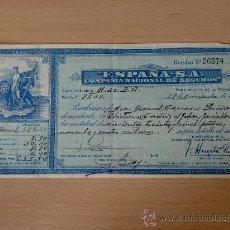 Documentos antiguos: SEGURO. RECIBO DE POLIZA DE SEGURO. ESPAÑA - S.A. COMPAÑIA NACIONAL DE SEGUROS. . Lote 21944441