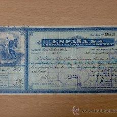 Documentos antiguos: SEGURO. RECIBO DE POLIZA DE SEGURO. ESPAÑA - S.A. COMPAÑIA NACIONAL DE SEGUROS. . Lote 21944474