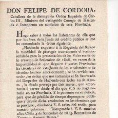 Documentos antiguos: DOCUMENTO HISTORICO. ORDEN AMPLIACIÓN PLAZO PRESENTAR VALES REALES. 1813 GRANADA. FELIPE DE CÓRDOBA.. Lote 26483969