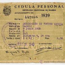 Documentos antiguos: CEDULA PERSONAL AYUNTAMIENTO DE MADRID 1939. Lote 27228023