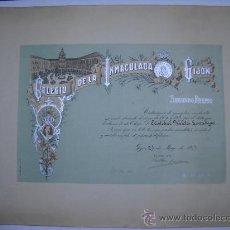Documentos antiguos: COLEGIO DE LA INMACULADA GIJÓN 1917. DIPLOMA 2º PREMIO DE EJEMPLAR CONDUCTA. FIRMA AUTOGRAFA RECTOR.. Lote 26428497