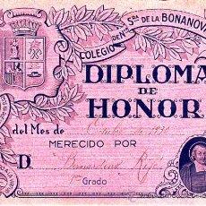 Documentos antiguos: DIPLOMA DE HONOR- COLEGIO DE NTRA.SRA. DE LA BONANOVA OCTUBRE 1930 PRIMER GRADO. Lote 22445114