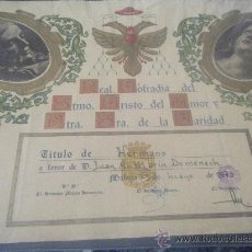 Documentos antiguos: TÍTULO DE HERMANO DE LA COFRADÍA DEL AMOR DE MÁLAGA. Lote 27151786