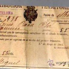 Documentos antiguos: DOCUMENTO CONTRIBUCIÓN TERRITORIAL. 1901 MANRESA.. Lote 22555297