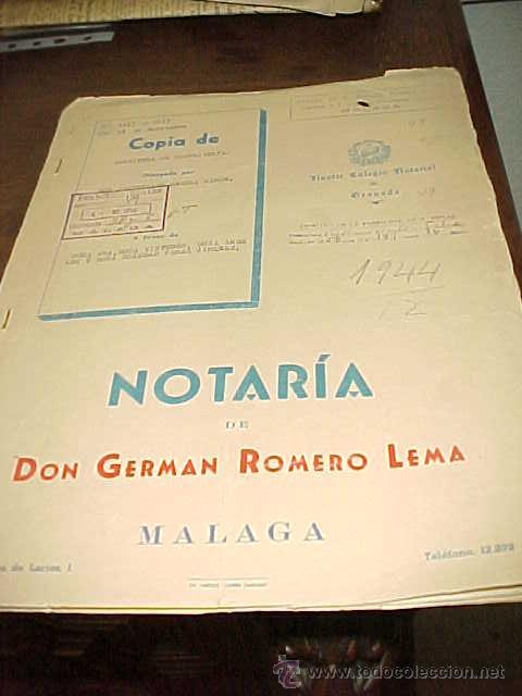 COPIA DE ESCRITURA DE COMPRAVENTA. NOTARIA DE DON GERMAN ROMERO LEMA. MALAGA 1958. TIMBRE Y SELLOS* (Coleccionismo - Documentos - Otros documentos)