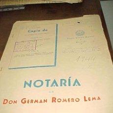 Documentos antiguos: COPIA DE ESCRITURA DE COMPRAVENTA. NOTARIA DE DON GERMAN ROMERO LEMA. MALAGA 1958. TIMBRE Y SELLOS*. Lote 22795254
